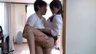 Japanese slut will suck out his milk for her breakfast