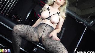 Mature MILF Teasing And Masturbating Herself Wearing Black Pantyhose - Solo - Lesson #315 Nina H4r7l3y