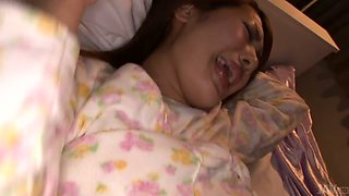 Sleeping Japanese sweetie gives head and gets hairy twat banged mish