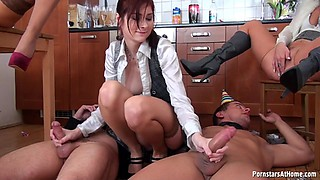 Radiant babes enjoys getting their caves drilled in pov on a fancy kitchen