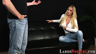 Busty blonde domina mocks