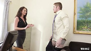 Mega busty Silvia Saige catches a dude at her office and fucks him