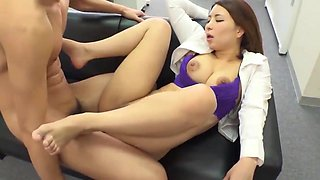 Hot asian boss dominates her assistant