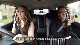 Jasmine, Instructor And Examiner Team Up For Hot Car Sex