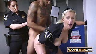 Being arrested by these busty milfs he will have to fuck