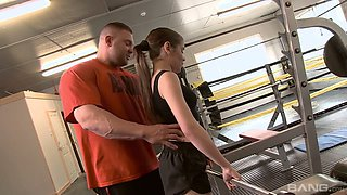 Fitness babe Lucie Bee is fucking her boxing coach right in the ring