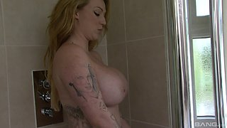Busty Harmony Reigns wants to get shagged right there in the bathroom