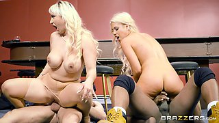 Blonde MILFs Bridgette and Nina enjoy two massive cocks
