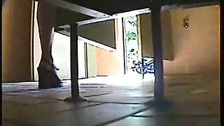 Real toilet voyeur of a blonde in high heels taking a piss