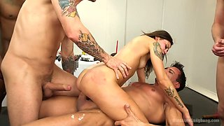 Several aggressive dudes fuck birthday girl and feed her with tasty cake and cum dessert