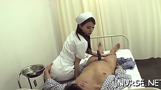 Sexy nurse gets her shaggy pussy licked and screwed hard