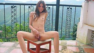Small tittied babe from Venezuela Mily Mendoza masturbates her pussy