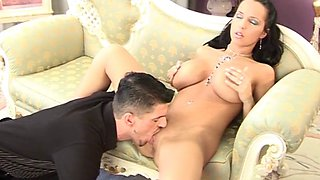 Ardent brunette with juicy tits takes cum in mouth after a heated sex action