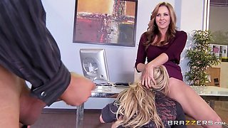 julia ann is making her secretary olivia austin eat her pussy and suck ceo's cock