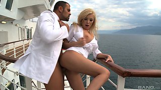 Dona Bell rides a cock on a boat and gets her tits cum covered